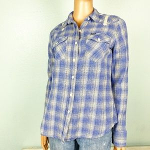 HURLEY blue plaid flannel button down SHIRT top S